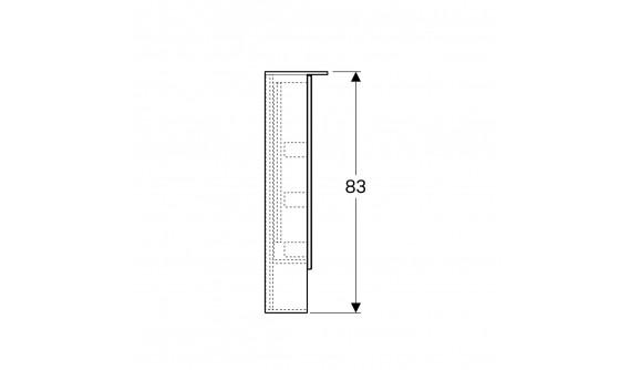 Дзеркальна Шафа Geberit 500.646.00.2 Acanto з підсвічуванням 90 см., з Двома Дверцятами: Дуб Mystic